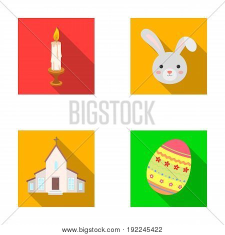 Church, candle, easter bunny and painted egg.Easter set collection icons in flat style vector symbol stock illustration .