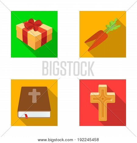 Cross, bible, gift and carrots.Easter set collection icons in flat style vector symbol stock illustration .