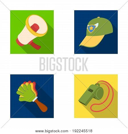 Megaphone, whistle and other attributes of the fans.Fans set collection icons in flat style vector symbol stock illustration .