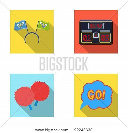 Hoop with flags and other attributes of the fans.Fans set collection icons in flat style vector symbol stock illustration .