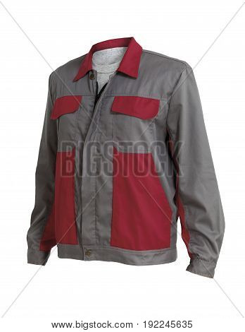 Protective working jacket with grey t-shurt isolated on white background