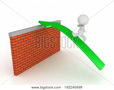 3D Character running on green arrow over brick wall. Isolated on white.
