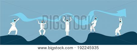 Arab Business people in arabian national dress are trying to raise the graph of growth of income of the company. The concept of teamwork. Vector illustration, isolated on white background.
