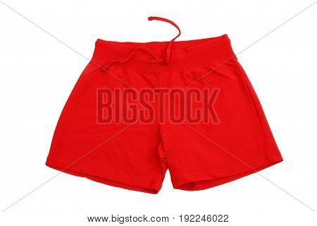 Red training shorts isolated on white background