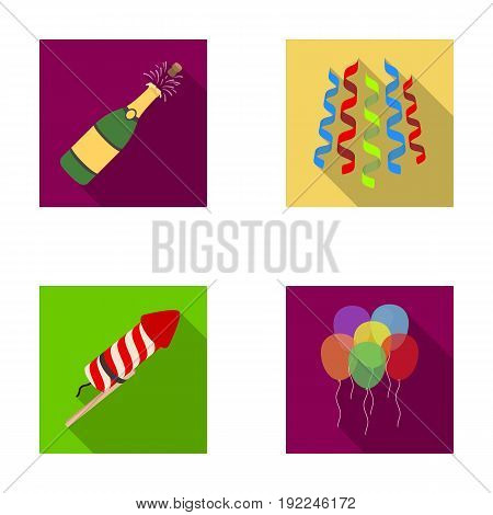 Champagne, fireworks and other accessories at the party.Party and partits set collection icons in flat style vector symbol stock illustration .