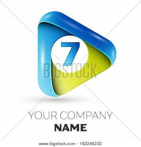 Realistic Number seven vector logo symbol in the colorful triangle on white background. Vector template for your design