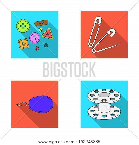 Buttons, pins, coil and thread.Sewing or tailoring tools set collection icons in flat style vector symbol stock illustration .