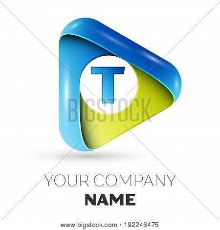 Realistic Letter T vector logo symbol in the colorful triangle on grey background. Vector template for your design