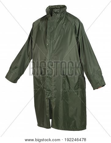 Waterproof protection raincoat isolated on white background