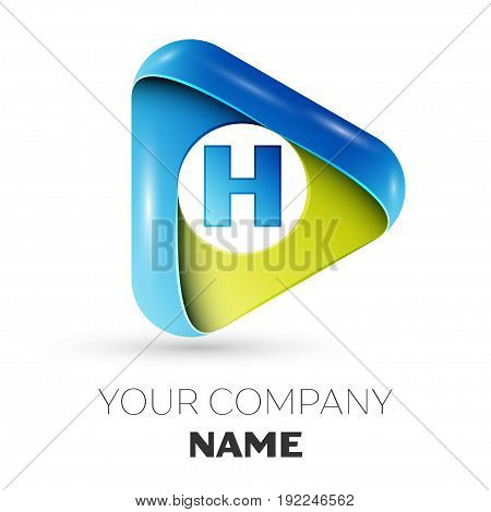 Realistic Letter H vector logo symbol in the colorful triangle on grey background. Vector template for your design