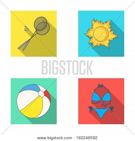 A game of badminton, a ball and the sun.Summer vacation set collection icons in flat style vector symbol stock illustration .