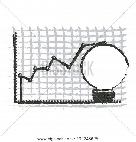 monochrome blurred silhouette of light bulb and financial risk graphic vector illustration