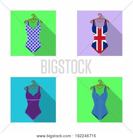 Different kinds of swimsuits. Swimsuits set collection icons in flat style vector symbol stock illustration .
