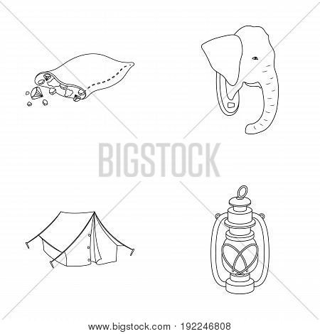 A bag of diamonds, an elephant's head, a kerosene lamp, a tent. African safari set collection icons in outline style vector symbol stock illustration .