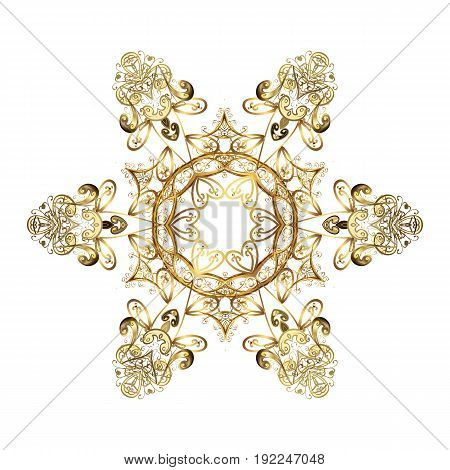 Winter Holiday Knitted Pattern with Circles Dots and Golden snowflakes On a white Background. Vector background.