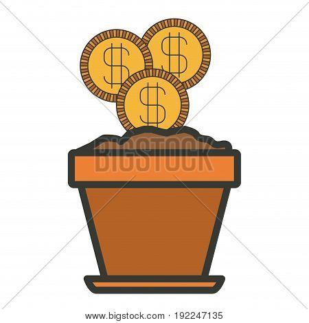 colorful silhouette of flower pot with set of coins with thick contour vector illustration