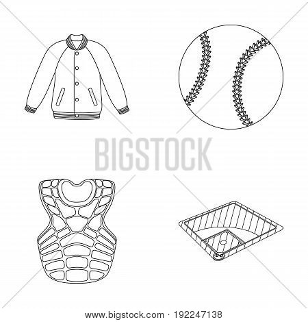 Playground, jacket, ball, protective vest. Baseball set collection icons in outline style vector symbol stock illustration .