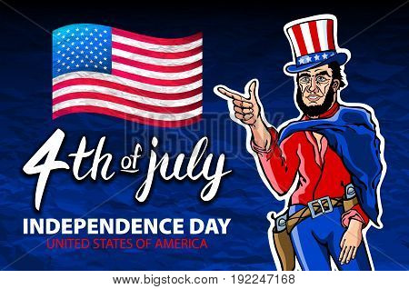 Fourth Of July Usa Independence Day Greeting Card. 4 Th Of July. United States Of America Celebratio