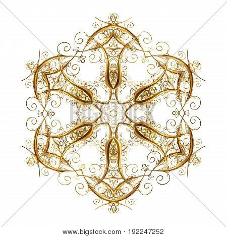 Vector winter illustration in white colors. Hand drawn abstract golden snowflakes. Template for cover poster t-shirt or fabric.