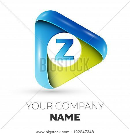 Realistic Letter Z vector logo symbol in the colorful triangle on grey background. Vector template for your design