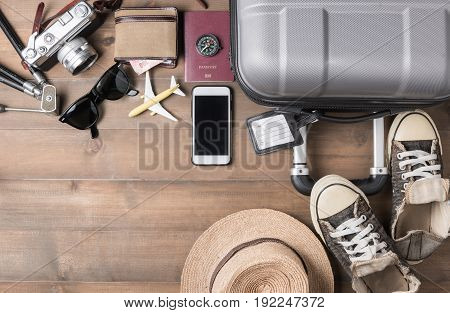 Travel Accessories Costumes. Passports, Luggage, Camera, Sunglasses, Sneaker