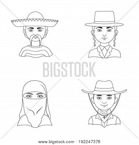 A mexican, a jew, a woman from the middle east, an american. The human race set collection icons in outline style vector symbol stock illustration .