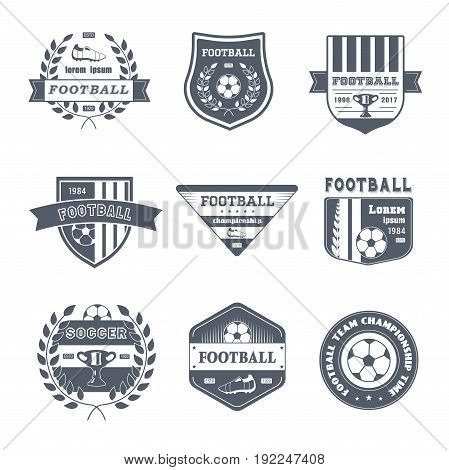 Game of Football - vector set of vintage template logo insignias. Old fashion style emblems, badges of soccer, championship, team. Apparel, leaflet, brochure, sticker design. Stay fit and healthy.