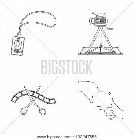 Badge, operator gesture and other accessories for the movie. Making movie set collection icons in outline style vector symbol stock illustration .
