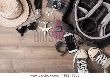 Travel Accessories Costumes. Passports, Bag, Vintage Camera