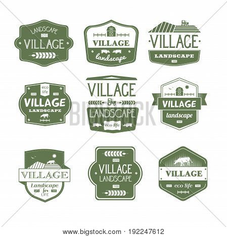 Village Life - vector set of vintage template logo insignias. Old fashion style emblems, badges of country, landscape, ecological lifestyle, natural environment. Apparel, leaflet, brochure, sticker design.
