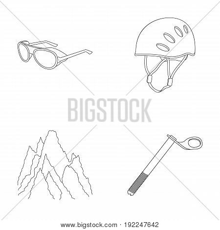 Helmet, goggles, wedge safety, peaks in the clouds.Mountaineering set collection icons in outline style vector symbol stock illustration .