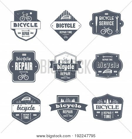 Bicycle Repair - vector set of vintage template logo insignias. Old fashion style emblems, badges of bike maintenance, service. Apparel, leaflet, brochure, sticker design. Promote your business