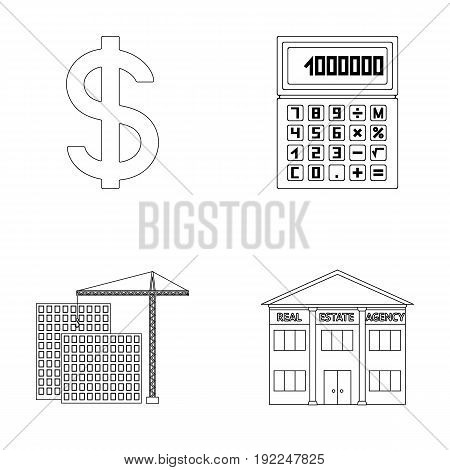 Calculator, dollar sign, new building, real estate offices. Realtor set collection icons in outline style vector symbol stock illustration .
