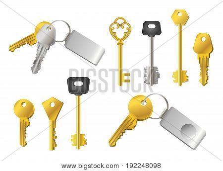 Keys - realistic modern vector set of different shape objects. White background. Use this quality clip art elements for your design. Silver and golden - with tags to unlock doors, locks.