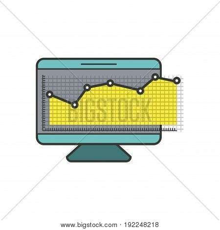 colorful silhouette of screen monitor and financial risk graphic vector illustration