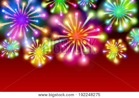 Starry Fireworks Background With Place For Text