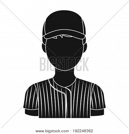 Baseball player. Baseball single icon in black style vector symbol stock illustration .