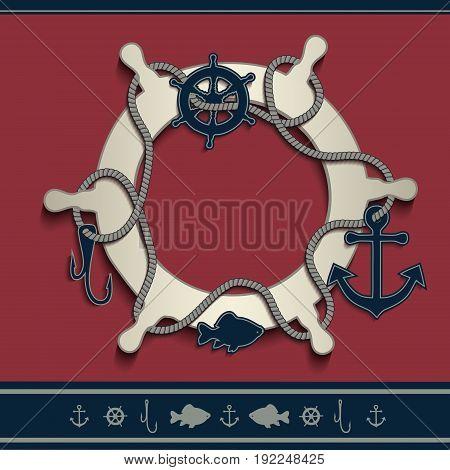 Rudder marine frame icons red blue blank vector