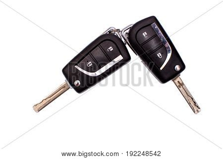 Car Key With Buttons Isolated On White Background