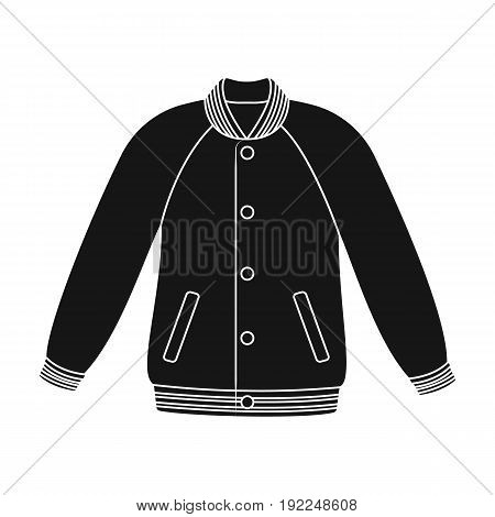 Uniform baseball jacket. Baseball single icon in black style vector symbol stock illustration .