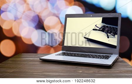 background blank business communication computer concept copy space desk display internet laptop mobile modern monitor notebook office open screen table technology view web wireless wood wooden work workplace workspace abstract beautiful blue blur blurred