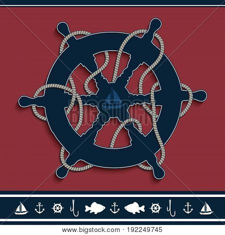 Rudder marine red nautical frame rope, icons, vector