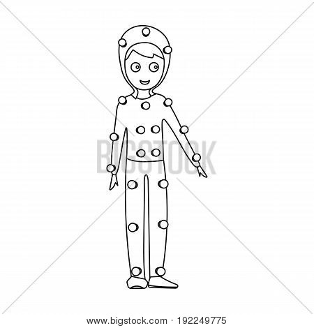 Suit with light bulbs. Making a movie single icon in outline style vector symbol stock illustration .