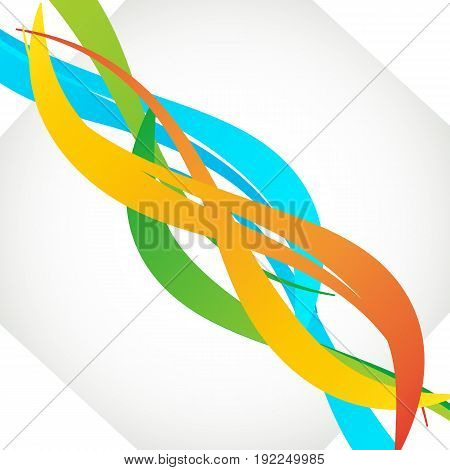 Abstract elegant wavy bright lines set in blue orange green colors and smoothly interwoven blue green and orange lines