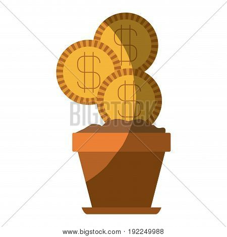 colorful silhouette of flower pot with set of coins and without contour vector illustration