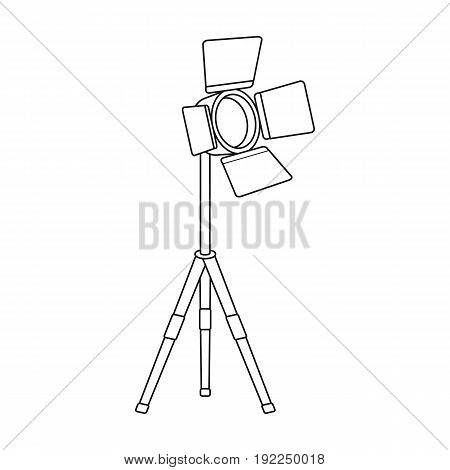 Searchlight for cinema.Making movie single icon in outline style vector symbol stock illustration .
