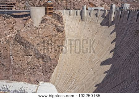 Hoover Dam Up Close In Nevada USA