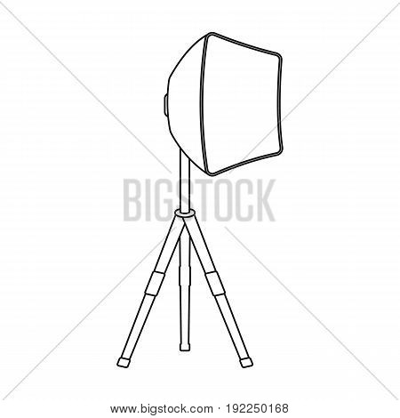 Lighting device on a tripod.Making movie single icon in outline style vector symbol stock illustration .