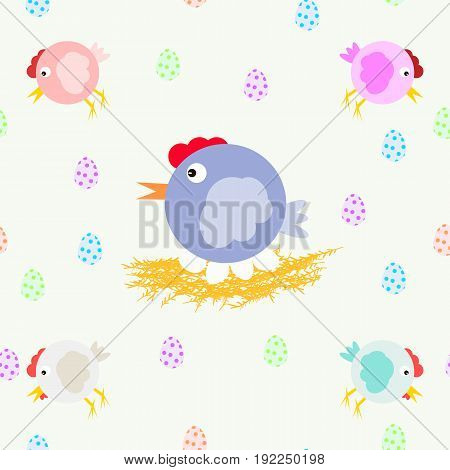 A collection of fun chickens and chicken moms on the nest. Multicolored eggs. Cool vector pattern