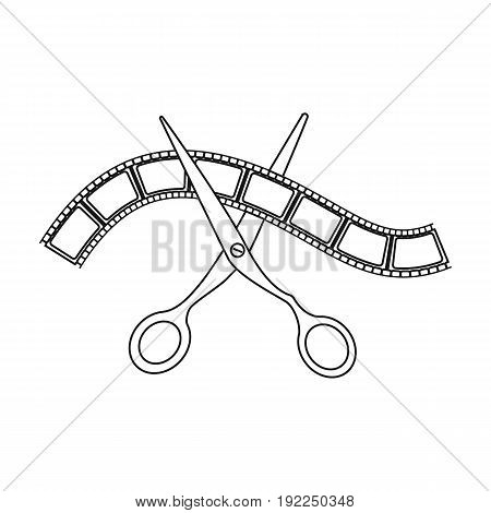 Installation of film.Making moviesingle icon in outline style vector symbol stock illustration .